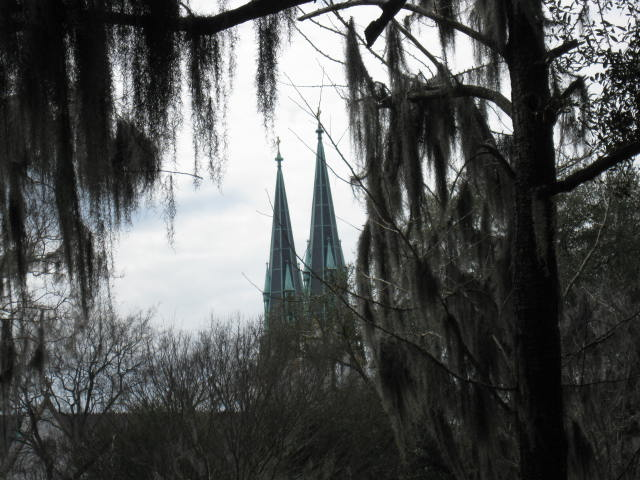 Day 3_Savannah_Colonial Park Cemetery_view of cathedral steeples