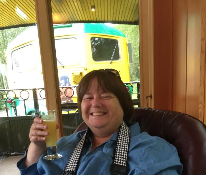 Mimosa on Train in Skagway